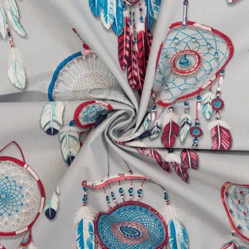 Coton bachette bleu motif attrape-rêve grande largeur