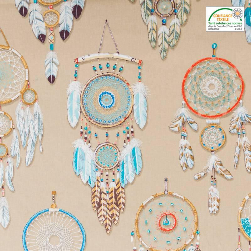 Coton bachette beige motif attrape-rêve grande largeur
