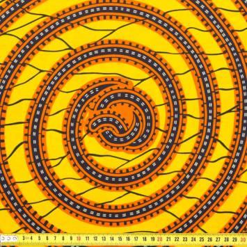 Wax - Tissu africain jaune spirale orange 220