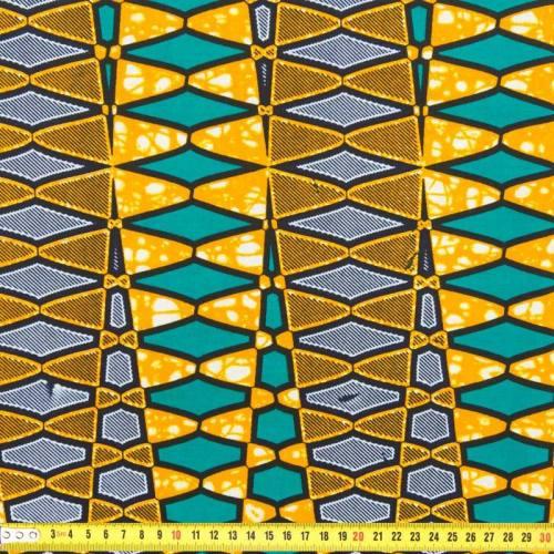 Wax - Tissu africain géom orange 217