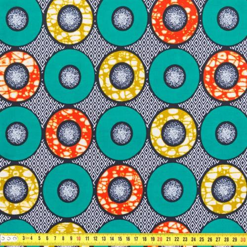 Wax - Tissu africain rond vert et orange 213