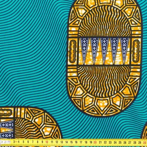 Wax - Tissu africain bleu canard et orange 211