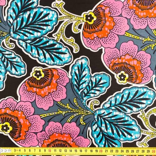 Wax - Tissu africain fleur rose et bleu 227