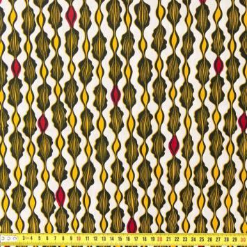 Wax - Tissu africain blanc jaune et rouge 223