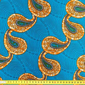 Wax - Tissu africain goutte bleue 224