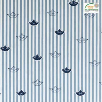 Popeline de coton bleu motif bateau en papier et rayures