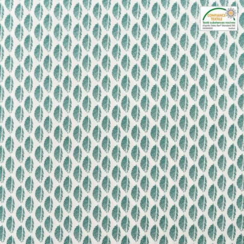Popeline de coton blanche motif fougère verte