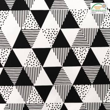 Popeline de coton blanche motif triangle et trait