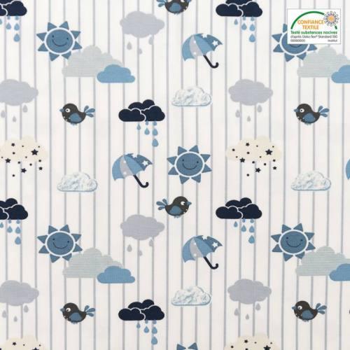 Jersey bleu motif météo et rayures