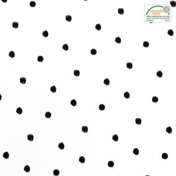 Popeline de coton blanche motif rond noir