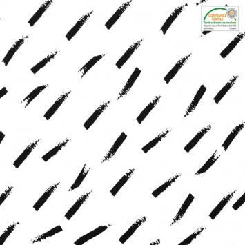 Popeline de coton blanche motif trait en diagonale