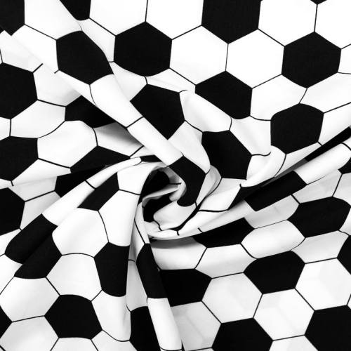 Popeline de coton blanche motif ballon de foot