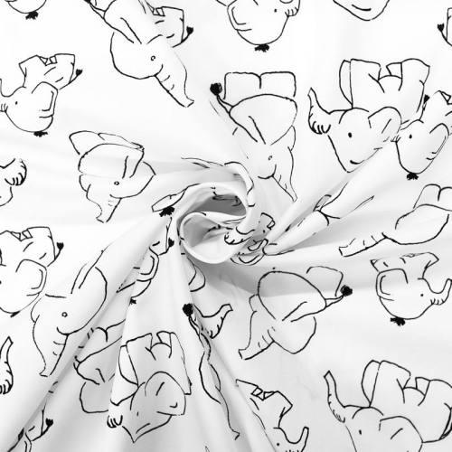 Popeline de coton blanche motif éléphant