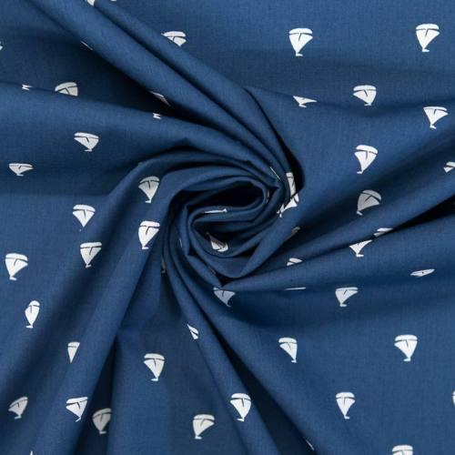 Popeline de coton bleue motif bateau