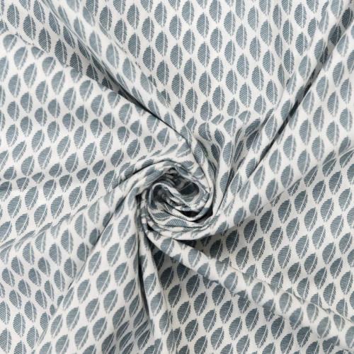 Popeline de coton blanche motif fougère bleue