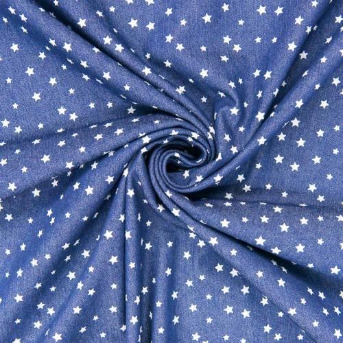Tissu jean bleu clair petites étoiles blanches