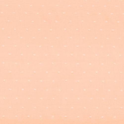 Voile de coton plumetis saumon pastel