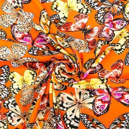Jersey orange motif papillons
