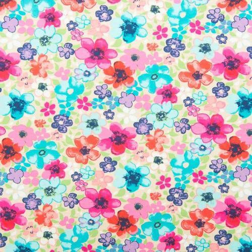 Jersey beige motif fleurs multicolores