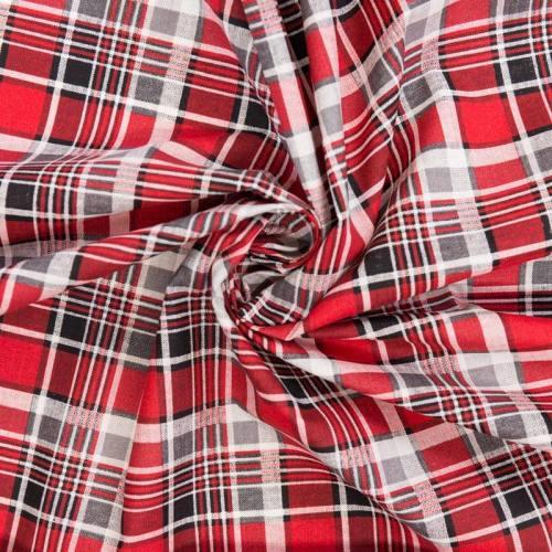 Coton cretonne imprimé tartan noir et rouge