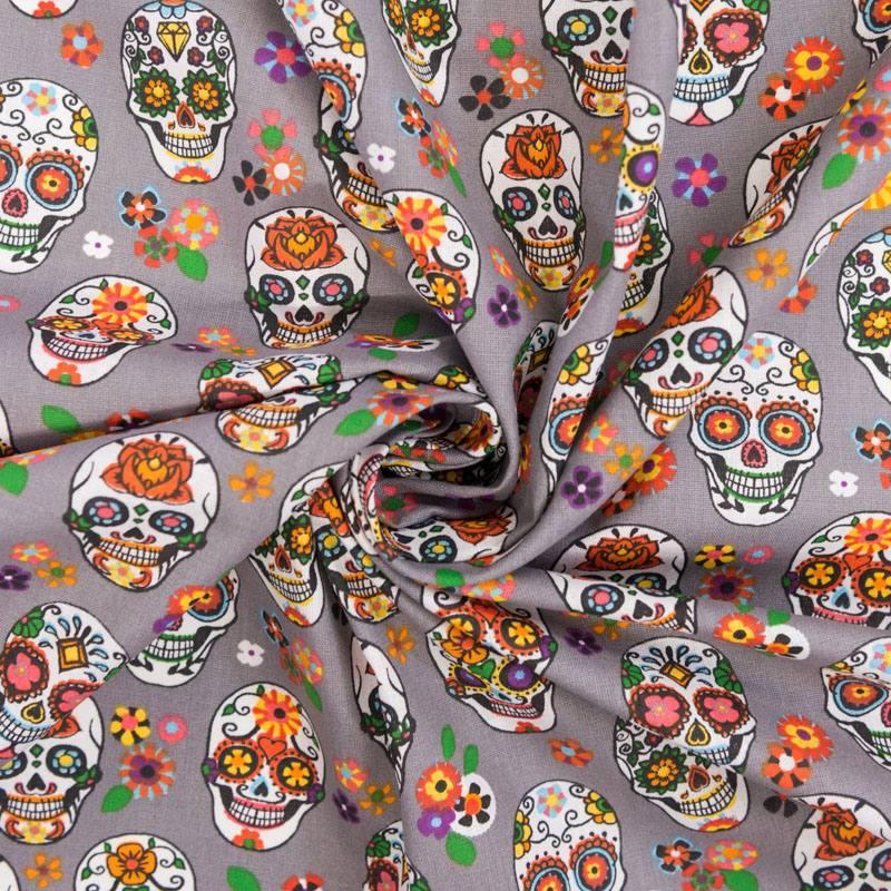 Coton gris imprimé calavera multicolore