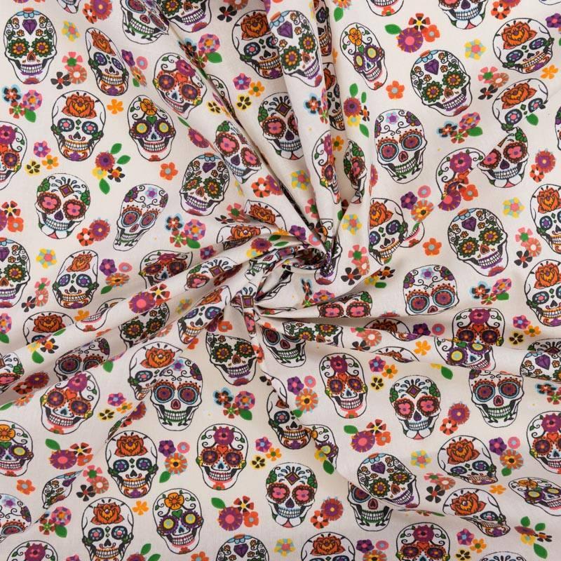 Coton écru imprimé calavera multicolore