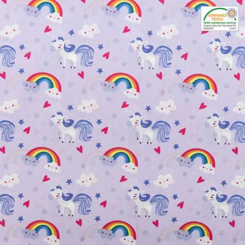 Popeline de coton violette motif licorne