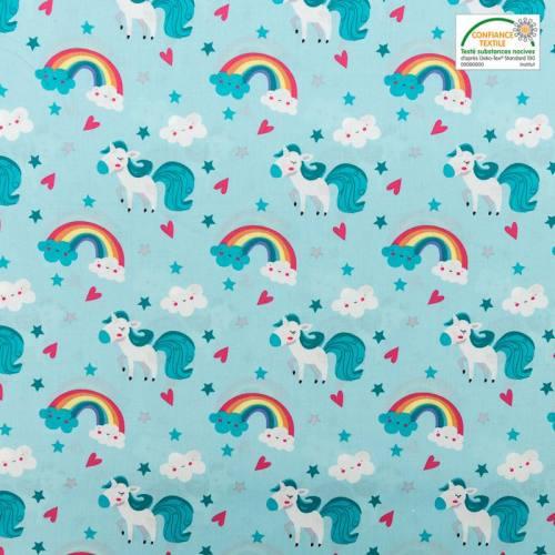 Popeline de coton bleue motif licorne