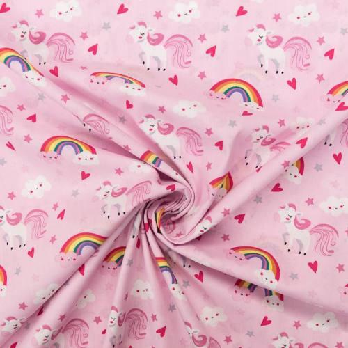 Popeline de coton rose motif licorne