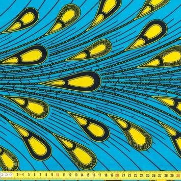 Wax - Tissu africain bleu goutte jaune 239
