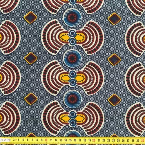 Wax - Tissu africain marron noir et jaune 238