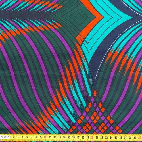 Wax - Tissu africain violet, bleu turquoise et vert 240