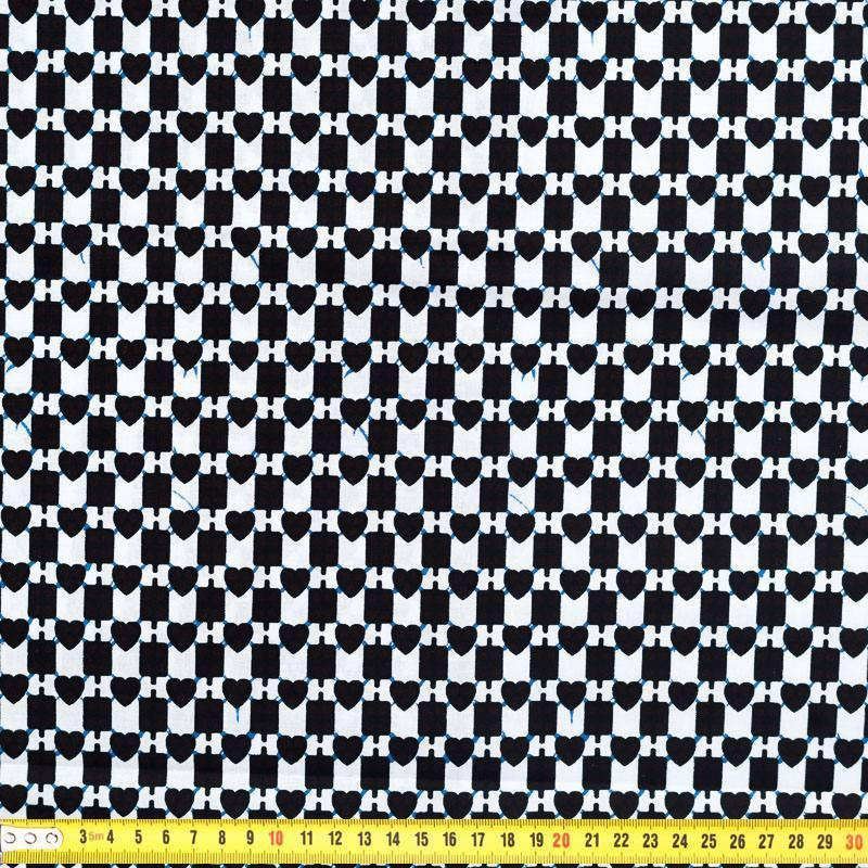 Wax - Tissu africain coeur blanc et noir 246