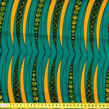 Wax - Tissu africain ocre et bleu canard 245