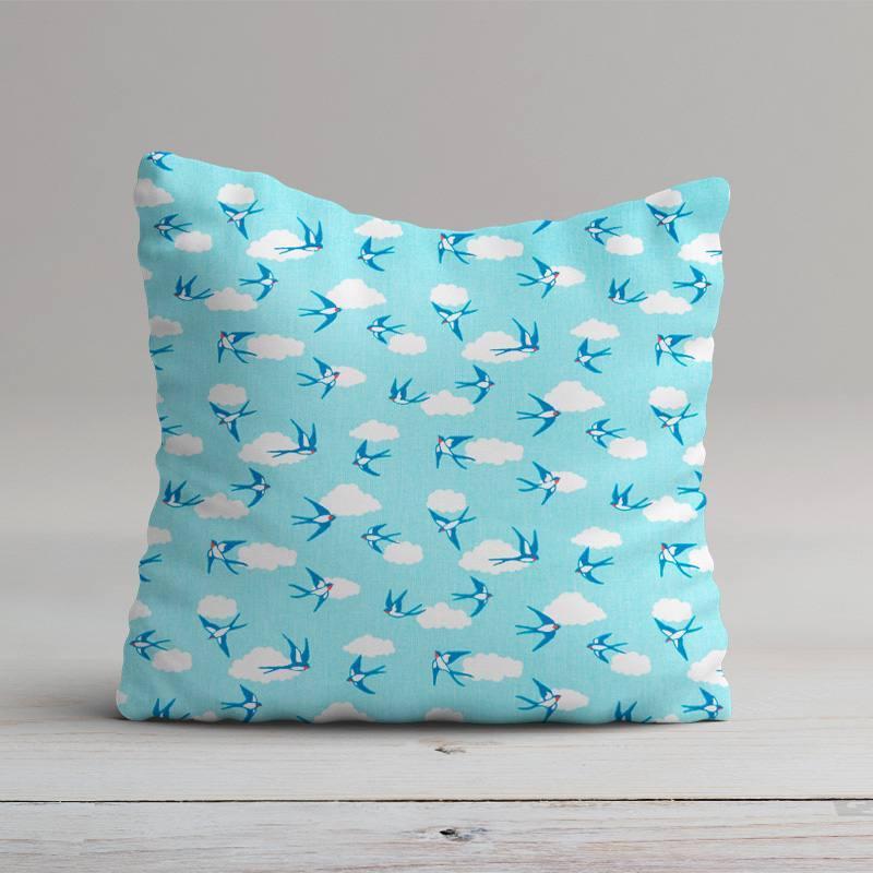 Coton bleu imprimé hirondelle