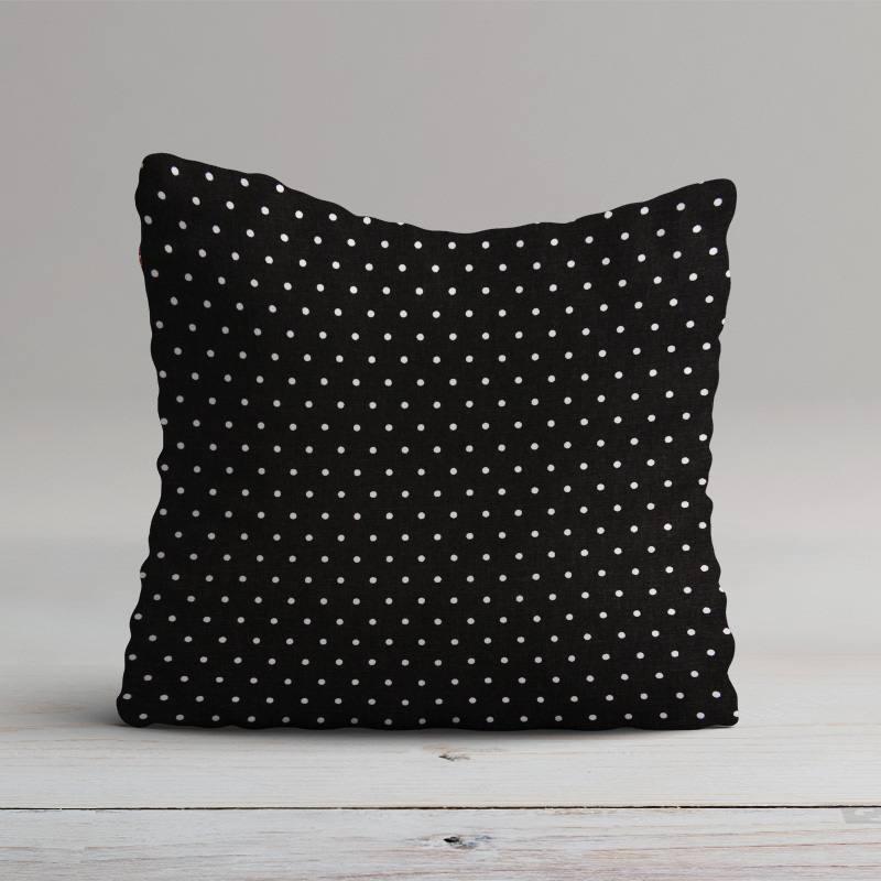 Coton cretonne noir pois blanc