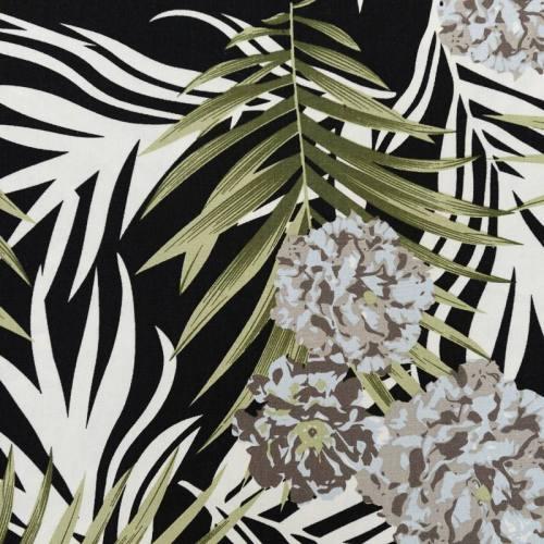 Toile viscose noire et écrue impression feuilles