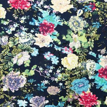 Toile viscose bleu marine motif fleurs
