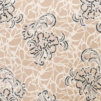 Tissu viscose beige motif dentelle