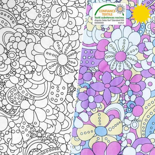 Jersey magique motif fleurs