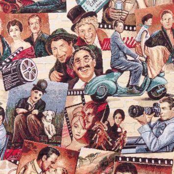 Jacquard motif acteurs films vintage