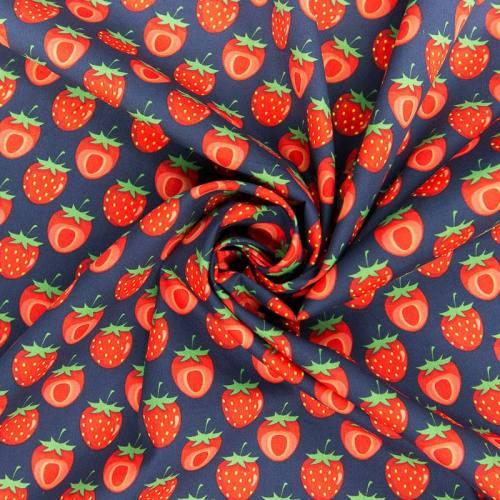 Coton bleu marine motif fraise