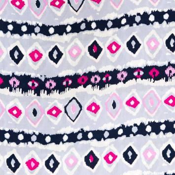 Tissu viscose mauve motif ethnique