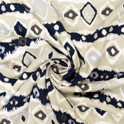 Tissu viscose grège motif ethnique