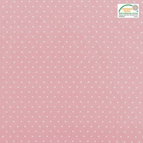 Coton cretonne rose pois blanc