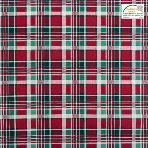 Coton cretonne imprimé tartan vert et rouge