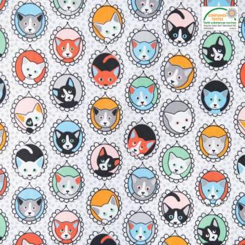Coton blanc imprimé portraits de chats