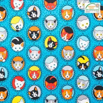 Coton bleu imprimé portraits de chats