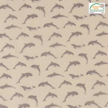 Coton ivoire imprimé dauphins gris