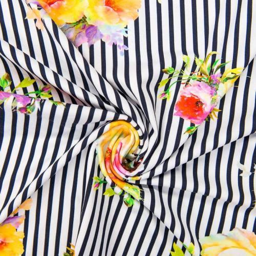 Jersey blanc motif rayures bleu nuit et fleurs